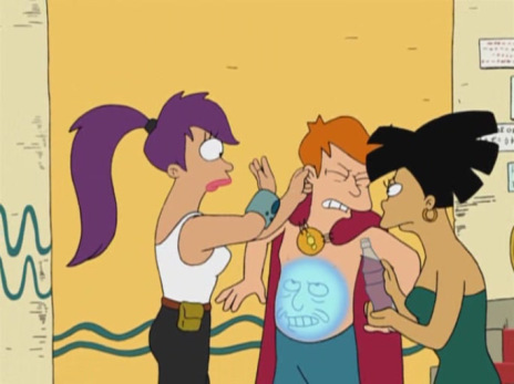 Fry, forced to cry out the Emperor of the Water Planet