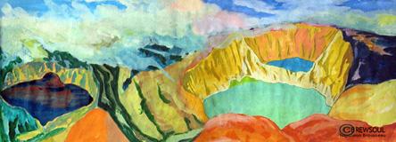 Kelemutu, watercolour, 1992 napob