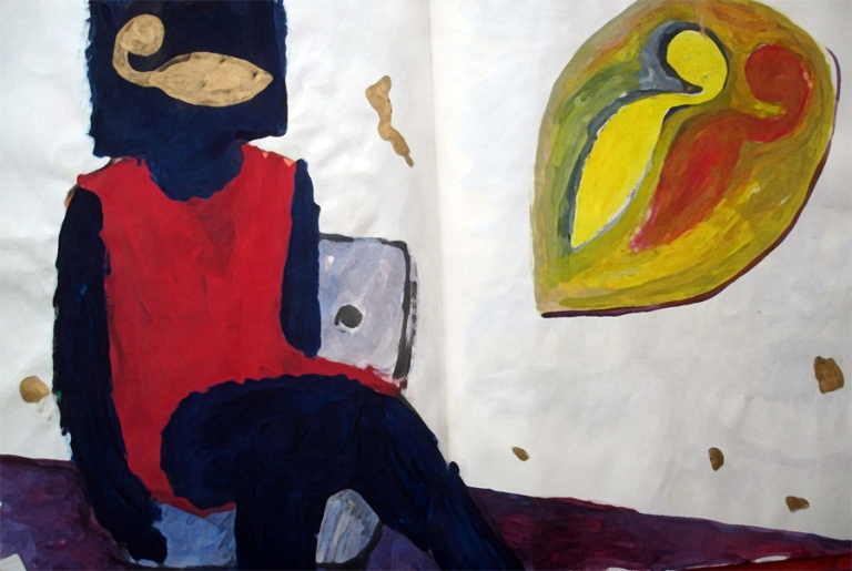 What do you see, (recovery book) gouache on paper,  17 x 28 in., 1994