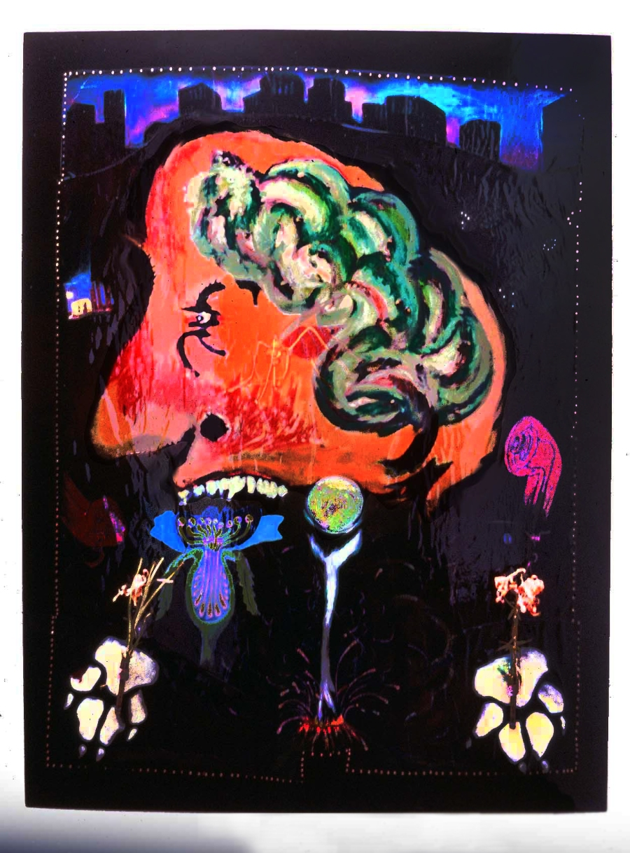 """""""The Patriarchal Brain"""", acrylic,collage, pencil, epoxy on panel, 88 x 66 in., 1987. Collection of the artist"""