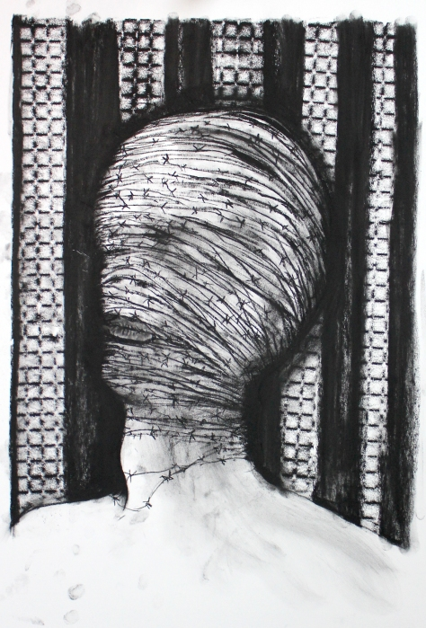 Charcoal on paper, 32 x 31 inches, March 2015